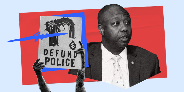 """Photo illustration: Hands holding up a sign that reads,\""""Defund Police\"""" with a scribble over it and Sen. Tim Scott."""