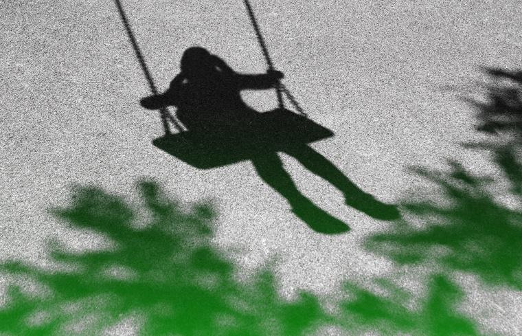 IMage: Girl on a swing shadow