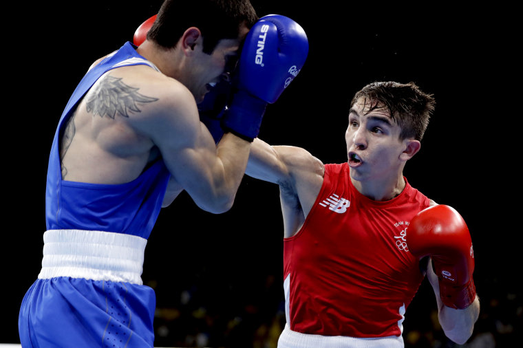 Ireland's Michael John Conlan, at right, fights Armenia's Aram Avagyan during a men's bantamweight 56-kg preliminary boxing match at the 2016 Summer Olympics in Rio on Aug. 14, 2016.