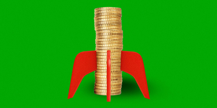 Illustration of a stack of gold coins with rocket wings.
