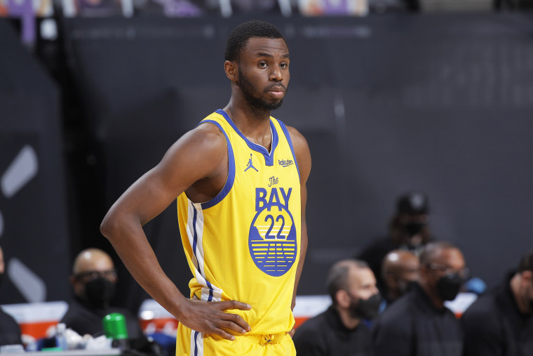 Andrew Wiggins of the Golden State Warriors looks on during the game against the Sacramento Kings on March 25, 2021, in Sacramento, Calif.