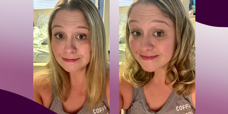 Before and after image of Writer Terri Peters, after using the Dyson Airwrap