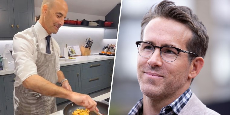 Ryan Reynolds couldn't help but admire the late-night pasta-making antics of Stanley Tucci.