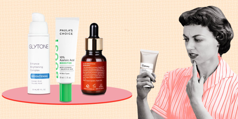 Illustration of a Woman looking at an Azelaic Acid product and three Azelaic Acid products