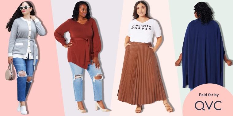 Illustration of four curvy Women modeling curvy fashion from QVC