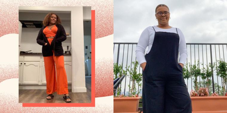 Writer Kamari Stewart wearing two different jumpsuits sold on Amazon