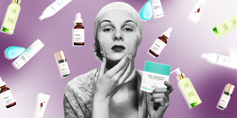 Illustration of a Woman holding up lotion and different products behind her meant for Skin care during menopause