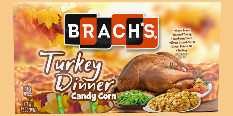 The Turkey Dinner Candy Corn pack consists of several flavors: Green Beans, Roasted Turkey, Cranberry Sauce, Stuffing, Apple Pie and Coffee.