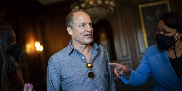 LaToya Cantrell, mayor of New Orleans, right, speaks with actor Woody Harrelson in the U.S. Capitol on Sept. 29, 2021.