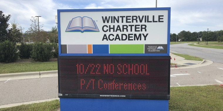 A sign at the Winterville Charter Academy in Winterville, N.C.