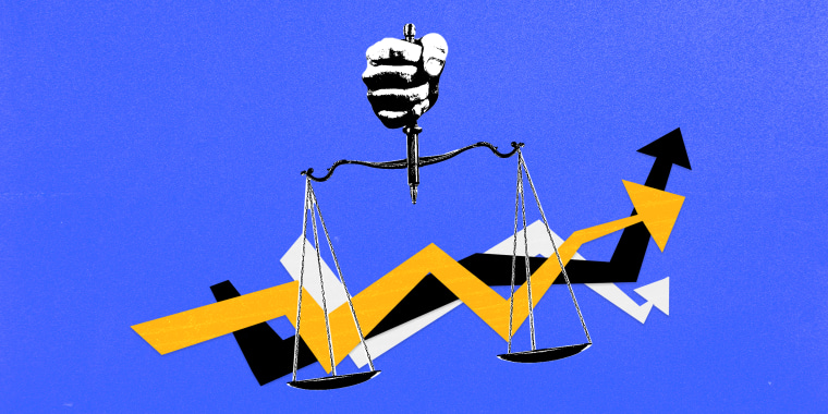 Photo illustration: A hand holding a a scale of justice which holds three arrows moving upwards.