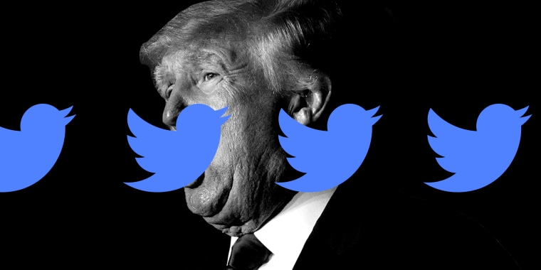 Photo illustration: Twitter logo repeated over an image of Donald Trump speaking.