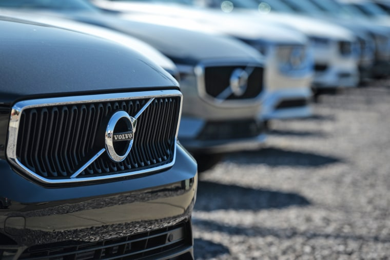 Volvo vehicles are parked outside a Volvo dealership in South Edmonton, Albert, Canada, on Aug. 24, 2021.