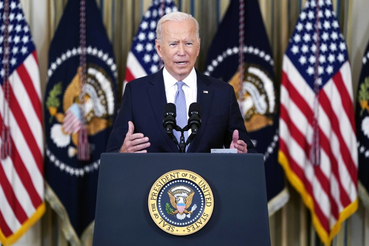 President Joe Biden speaks in the State Dining Room of the White House on Sept. 24, 2021.