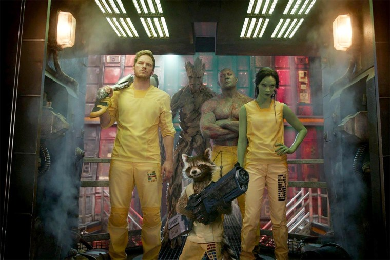 Image: Chris Pratt, Dave Bautista and Zoe Saldana in Marvel Studios' Guardians of the Galaxy, Vol 1.