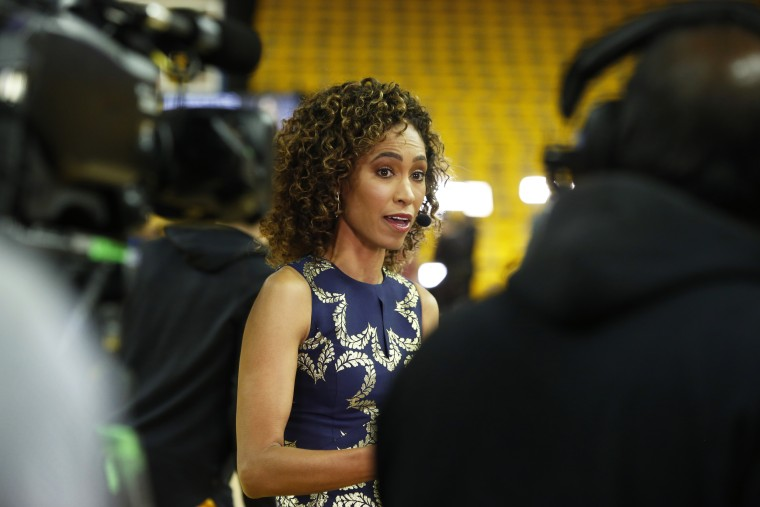 ESPN Analyst Sage Steele talks during game four of the NBA Finals between the Toronto Raptors and the Golden State Warriors on June 7, 2019, in Oakland, Calif.