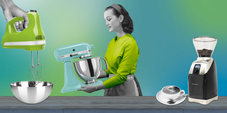 Illustration of a hand holding a Kitchen Aid Mixer, a Woman holding a standing mixer, and a coffee cup next to a coffee grinder