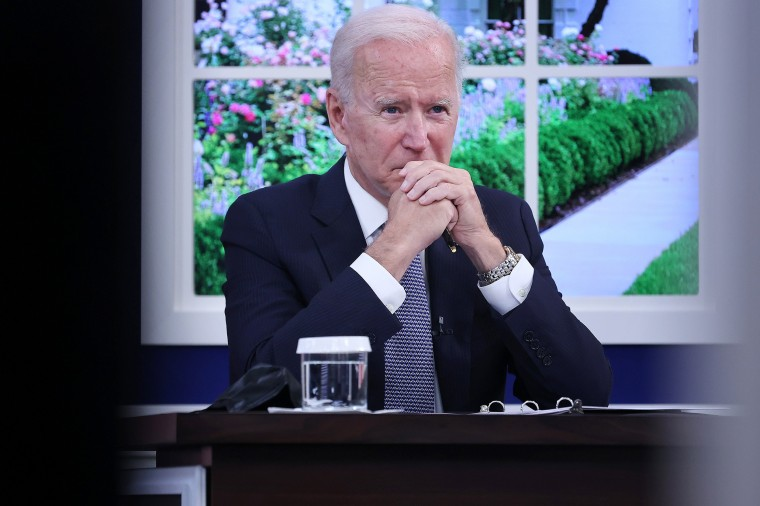 Image: President Joe Biden hosts a meeting with corporate chief executives and members of his cabinet to discuss the looming federal debt limit on Oct. 6, 2021 in Washington.