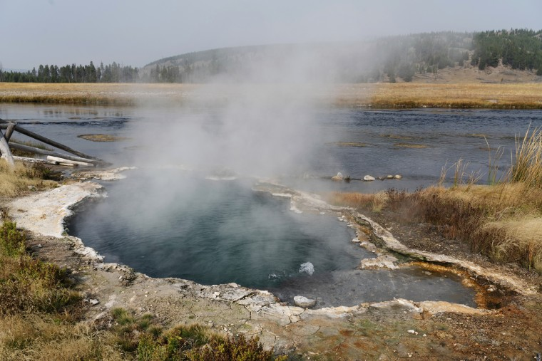 The Maiden's Grave Spring in Yellowstone National Park in Wyoming.