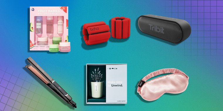 Illustration of six different products to buy as a White Elephant gift this holiday