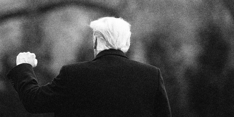 Image: Back of former U.S. President Donald Trump as he pumps his fist up.