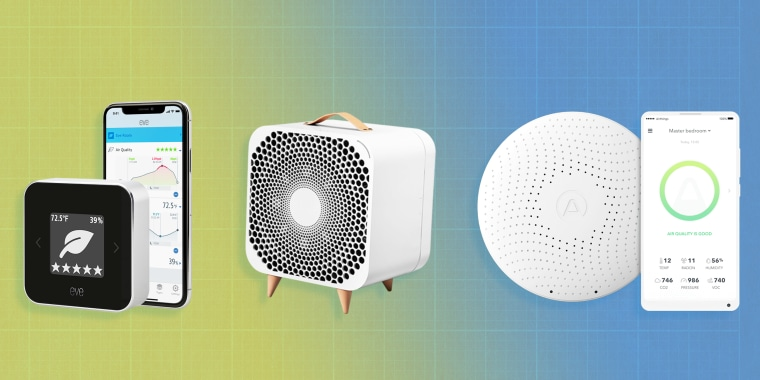 Illustration of the Airthings Wave Plus Air Quality Monitor, Blueair Pure Fan Auto and the Eve Room Indoor Air Quality Monitor