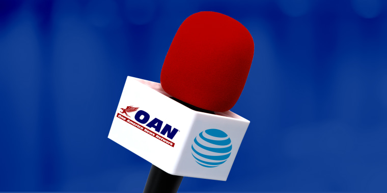 Photo illustration: A TV microphone has the One America News Network logo on one side and the AT&T logo on the other.