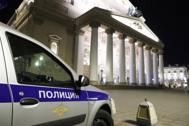 Police respond to an accident at the Bolshoi Theater in which an actor died in Moscow on Oct. 9, 2021.