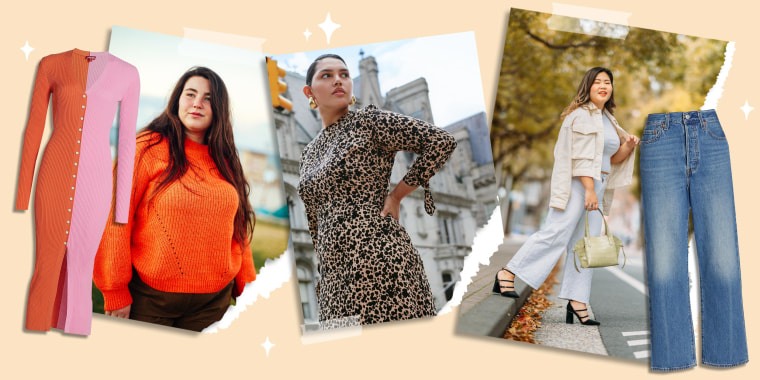 Full size portrait of young woman in street in autumn, Levi's Ribcage Straight Ankle Jeans, Woman wearing the Reformation Port Dress Es, a Woman wearing an orange sweater and the STAUD Shoko Sweater Midi Dress