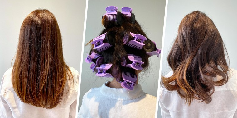 Three images of before, during and after images of writer Molly Fahner Calhoun using Conair hot hair curlers