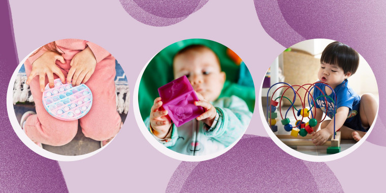 Images of three different aged kids playing with sensory learning toys