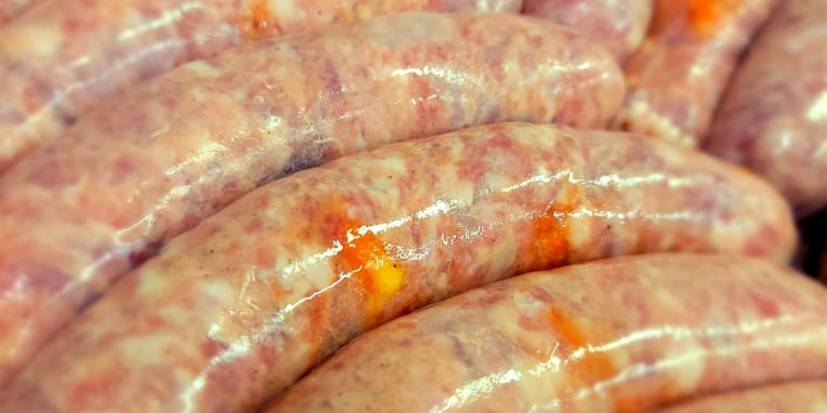 """According to its creator, it's a """"traditional brat"""" made with Oktoberfest beer and, of course, candy corn."""