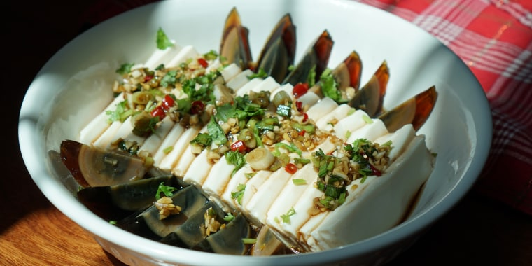 Combine the luscious creaminess of century eggs with the soft, tender texture of silken tofu.