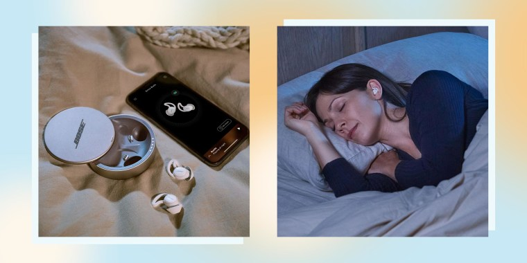 Two images of a Woman sleeping with Bose Sleepbuds II headphones and a pair of headphones on the bed