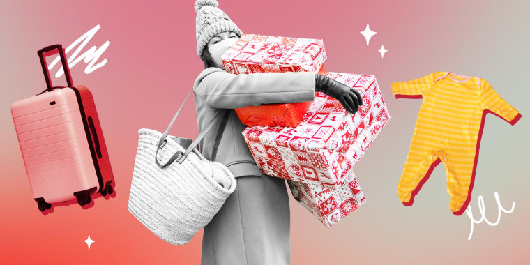 Illustration of a Woman holding holiday gifts in her hands, a suitcase and a baby onesie
