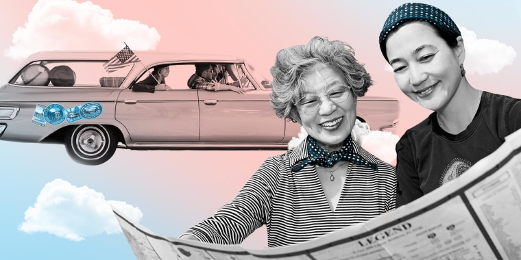 Illustration of Mother and daughter looking at map and a car ready for a road trip