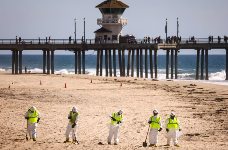 Image: Amid Oil Spill, Californians Return To Local Beaches