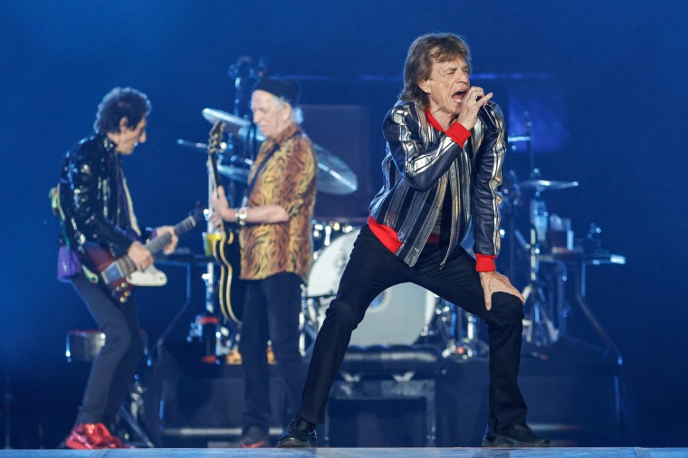 """Image: Mick Jagger performs during the Rolling Stones \""""No Filter\"""" 2021 North American tour on Sept. 26, 2021 in St. Louis, Mo."""