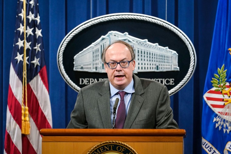 Jeff Clark, Assistant Attorney General for the Environment and Natural Resources Division, speaks during a news conference at the Justice Department in Washington on Sept. 14, 2020.