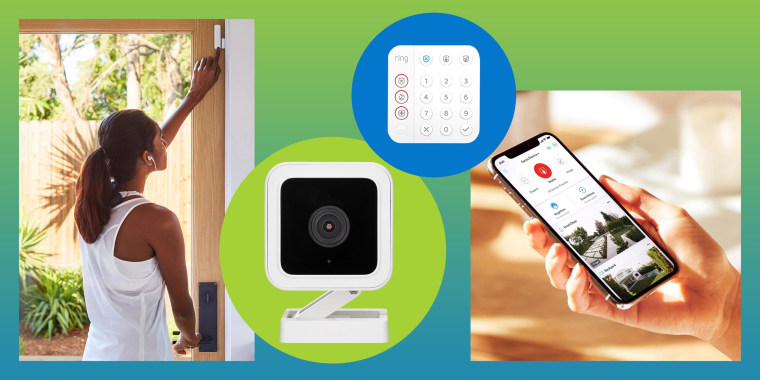 Illustration of different home security devices