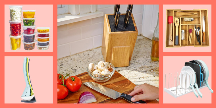 Illustration of a pot holder, spoon holders, a knife block in a kitchen, a bamboo drawer with separators and storage containers for leftover food
