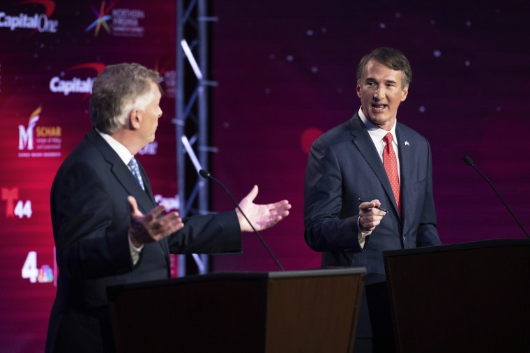 Virginia Democratic gubernatorial candidate and former Gov. Terry McAuliffe, left, and Republican challenger, Glenn Youngkin, participate in their debate in Alexandria on Sept. 28, 2021.