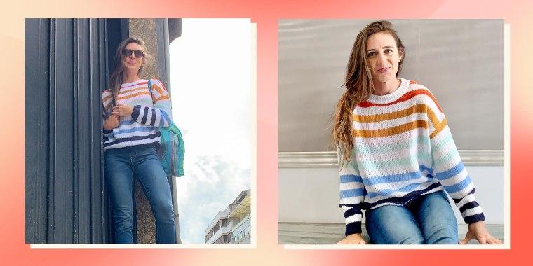 Split image of Writer Katie Jackson wearing the KIRUNDO Women's Stripe Color Block Sweater