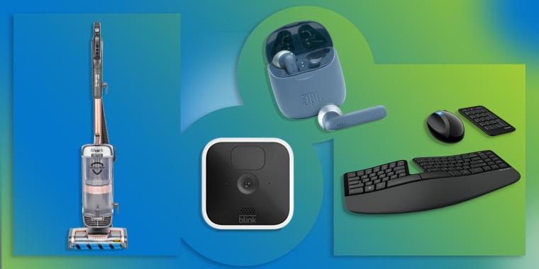 Illustration of JBL Wireless Earbuds, Shark AZ2002 Upright Vacuum, Blink Mini Smart Security Camera and the Microsoft Sculpt Ergonomic Wireless Desktop Keyboard and Mouse