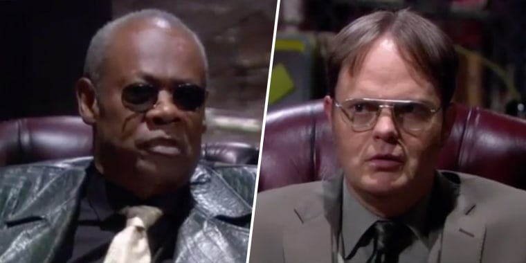 """Hugh Dane and Rainn Wilson in a never-before-seen cold open of """"The Office,"""" which is now streaming on Peacock."""