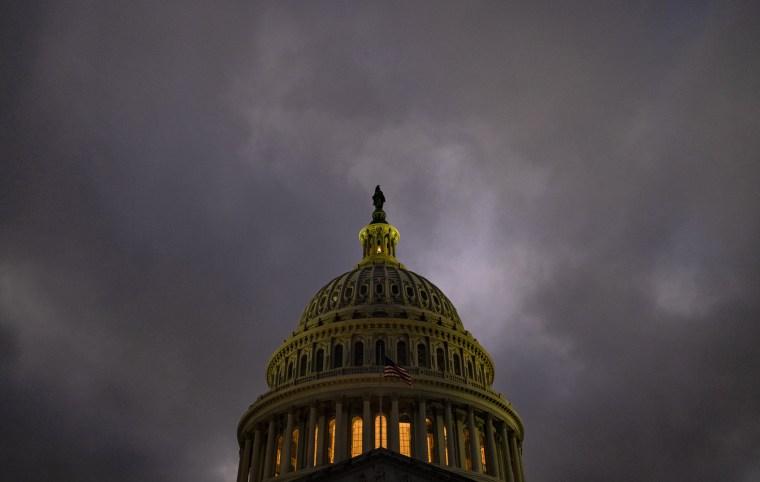 Dusk falls over the U.S. Capitol on Dec. 20, 2020.