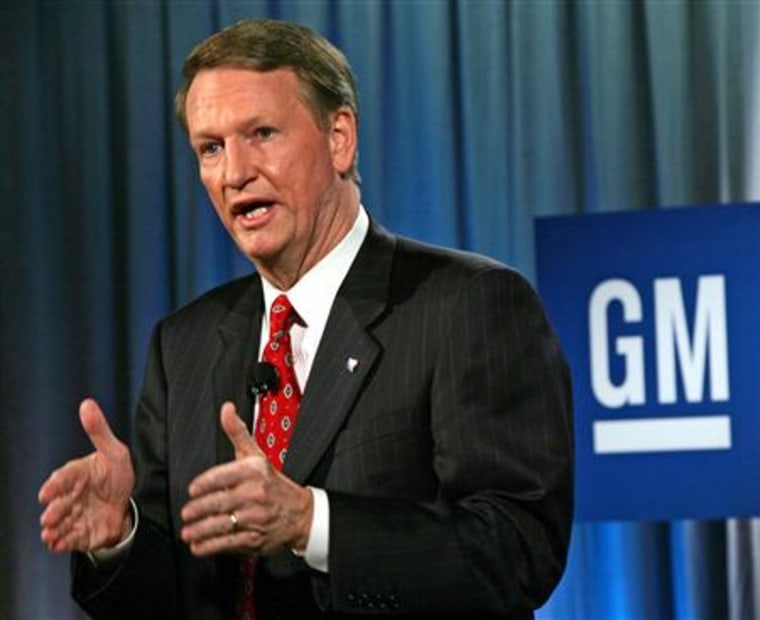 General Motors Chairman and CEO Rick Wagoner is seen speaking in Detroit last month. Wagoner on Thursday said the automaker should see improved revenue in 2006, driven by its new line of full-sized sport utility vehicles and trucks.