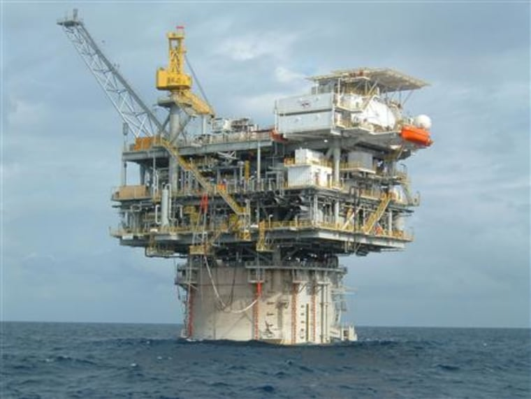 A Kerr-McGee offshore platform is seen in the Gulf of Mexico in an undated publicity photo. Kerr-McGee Corp. said on Friday its board of directors has unanimously approved an all cash offer of $70.50 pershare from Anadarko Petroleum Corp.