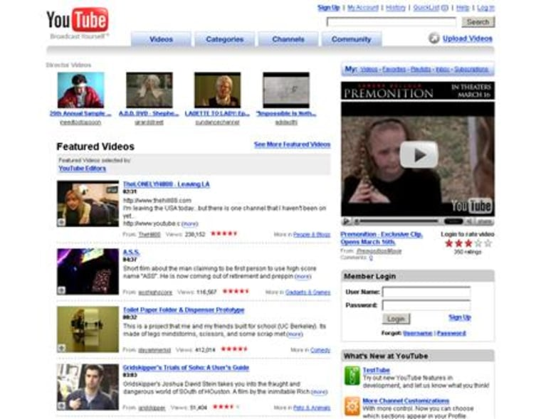 A screenshot of YouTube.com, taken on March 13, 2007. Media conglomerate Viacom Inc. said on Tuesday it filed a $1 billion lawsuit against Google Inc. and its Internet video sharing site YouTube over unauthorized use of its copyrighted entertainment.