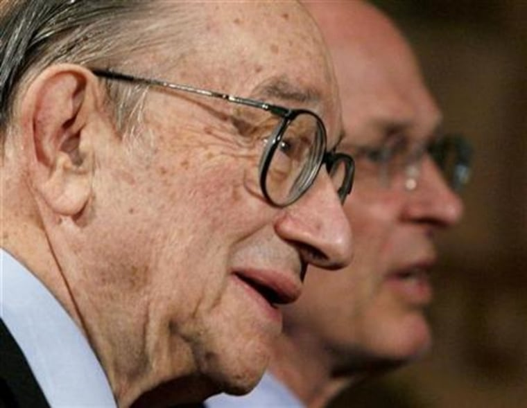 Former Chairman of the Federal Reserve Greenspanis seen speakingin Washington earlier this year. A big overhang of property will bring U.S. house prices down further, but it is too early to say if the economy will plunge into recession, Greenspan saidFriday.